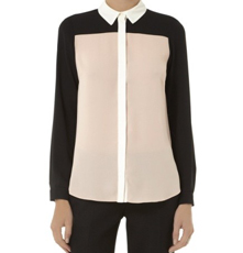 Dorothy Perkins Black and Peach Color Block Shirt