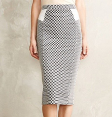 Anthropologie Checked Knit Pencil Skirt